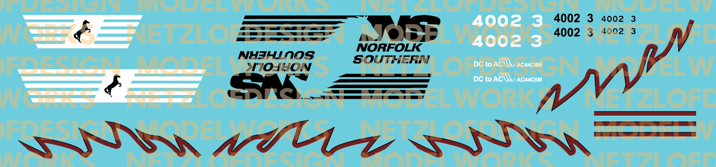 Norfolk Southern AC44C6M #4002 Decal Set