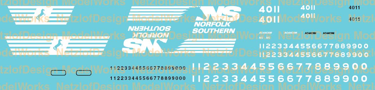 Norfolk Southern AC44C6M Horsehead scheme decals