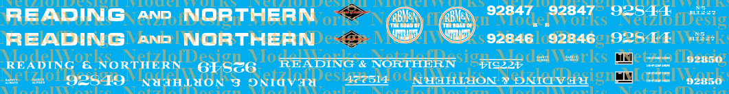 Reading & Northern Caboose Decal Set
