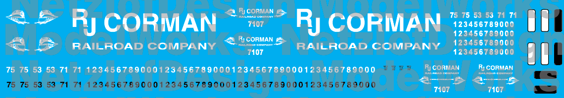 RJ Corman All Caps Logo Decal Set