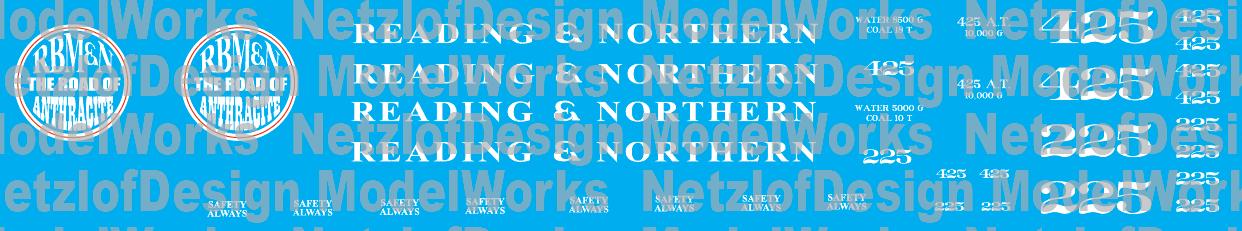 Reading & Northern Steam Decals