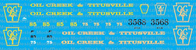Oil Creek Titusville Locomotive Decals