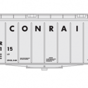 Conrail Covered Hopper Airslide 40ft Large Name White/Black