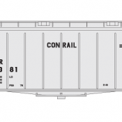 Conrail Covered Hopper Airslide 40ft Small Name White/Black