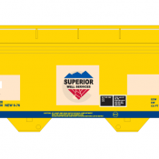 Superior Well Services GWIX 2 Bay Centerflow Covered Hopper Decals