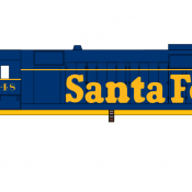 Santa Fe Locomotive GP35 Yellow Lettering Decals